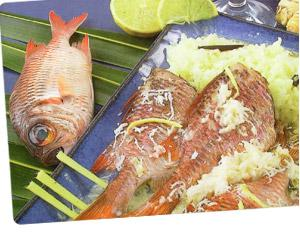 Coconut-flavored red mullet